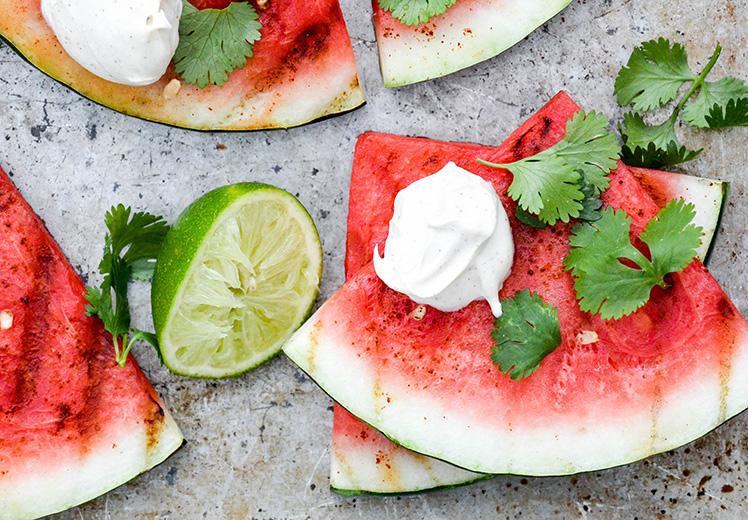 Grilovaný meloun s Creme Fraîche